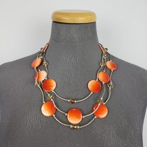 Orange & Silver Beaded Necklace
